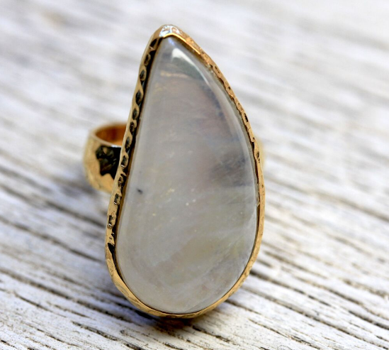 Gold Rainbow Moonstone Ring