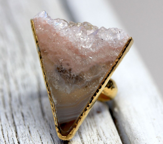 Rose Quartz Slice Ring