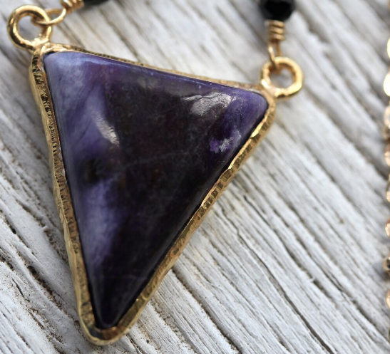 Gold Sugilite Necklace