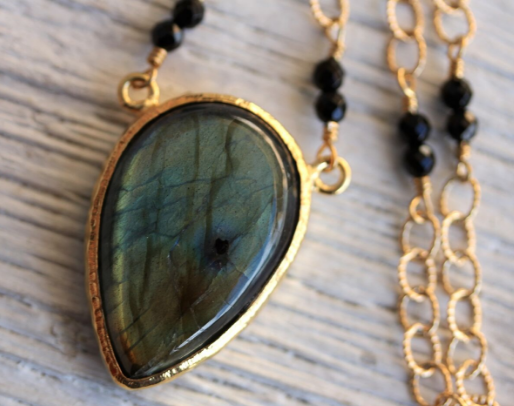 Gold Rainbow Labradorite Necklace