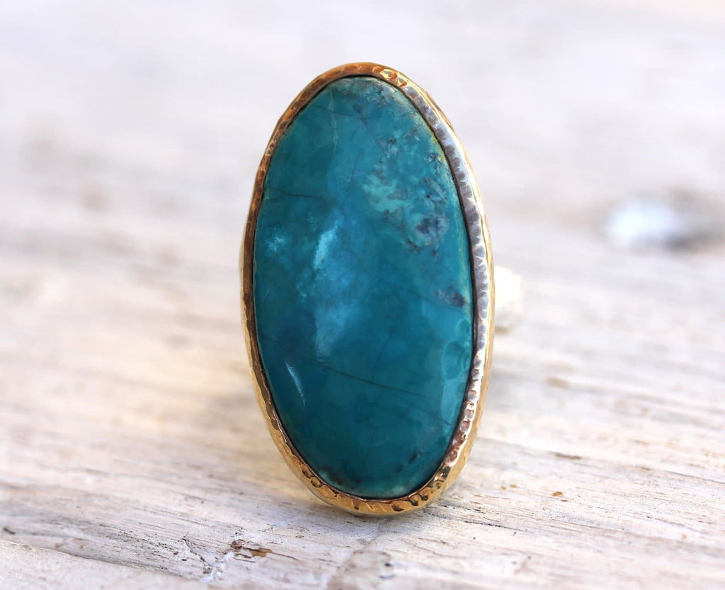 Gold & Silver AZ Turquoise Ring