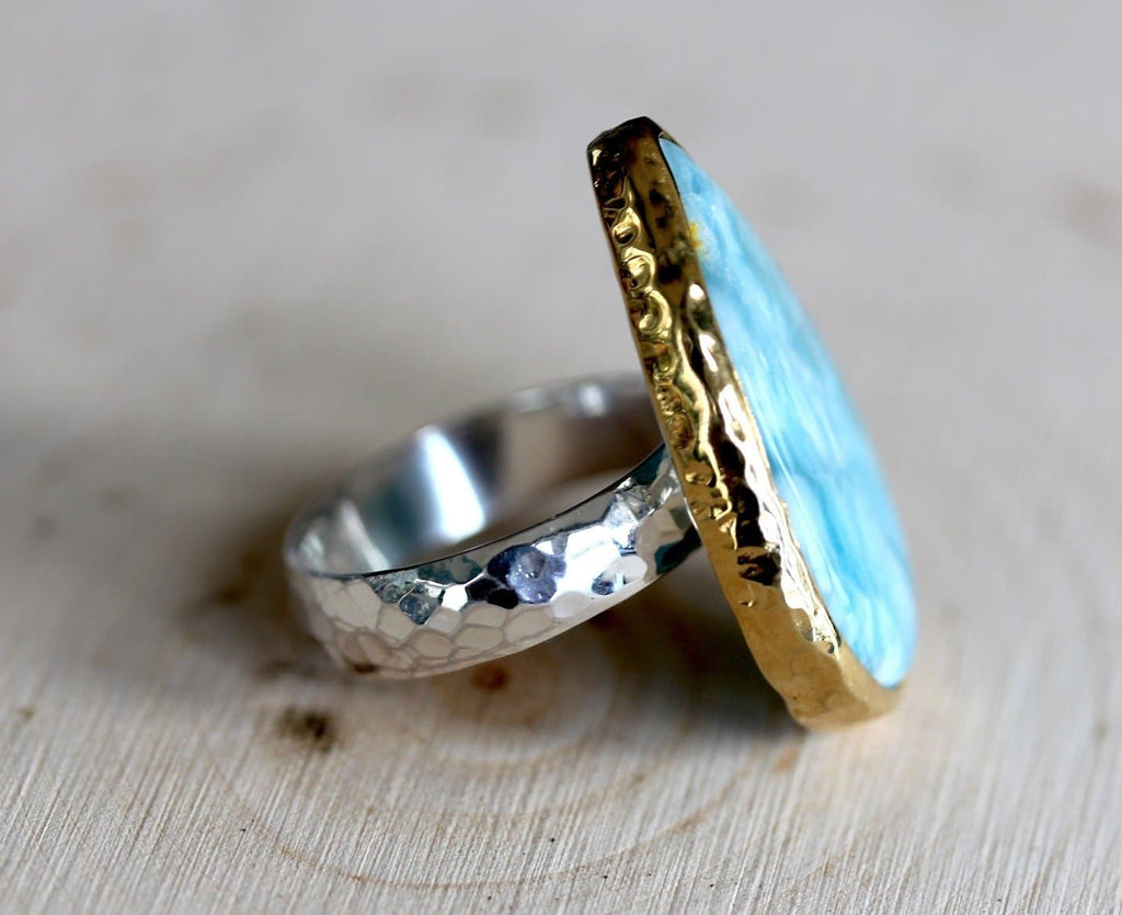 Gold & Silver Larimar Ring
