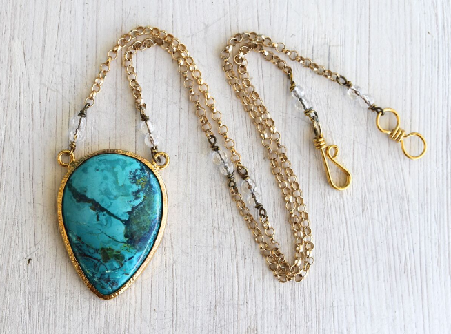 Gold Chrysocolla Necklace