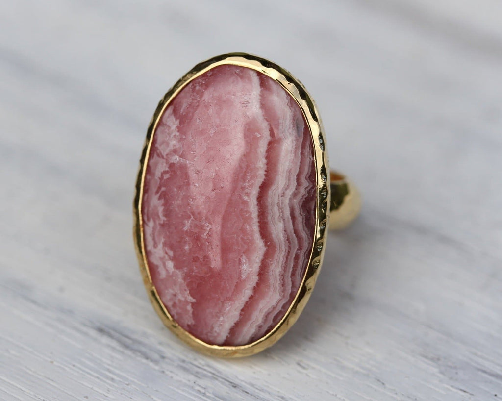 Gold Pink Rhodocrosite Ring