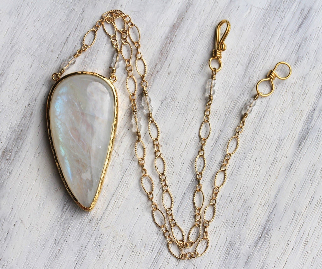 Gold Rainbow Moonstone Necklace