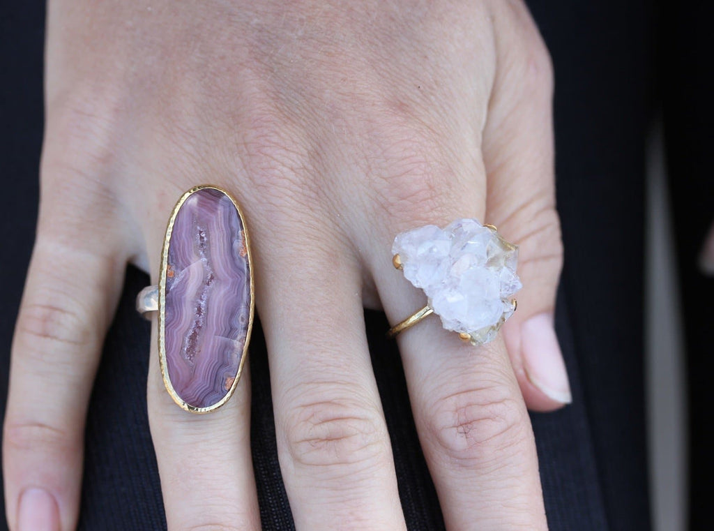 Gold & Silver Pink Agate Ring