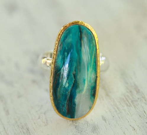 Gold and Silver Andean Opal Ring