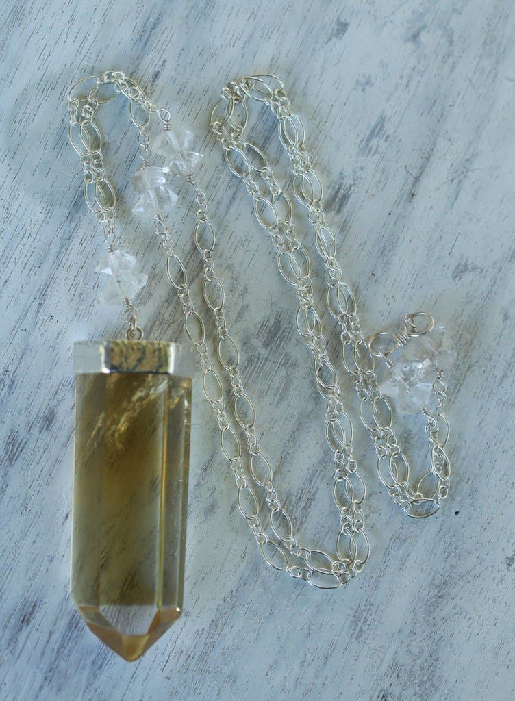 Citrine Wand & Herkimar Necklace