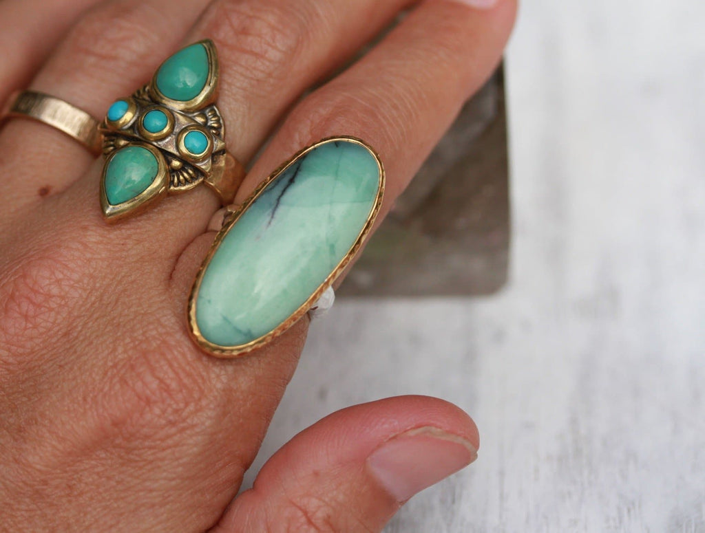 Gold & Silver Chrysoprase Ring