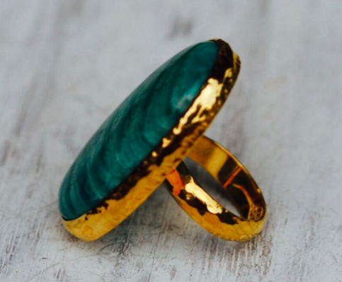 Gold Chrysocolla Ring