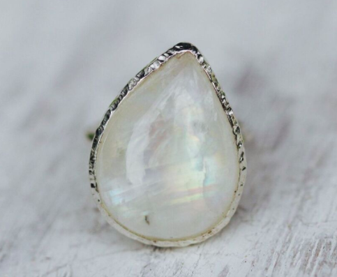 Rainbow Moonstone Elfin Ring