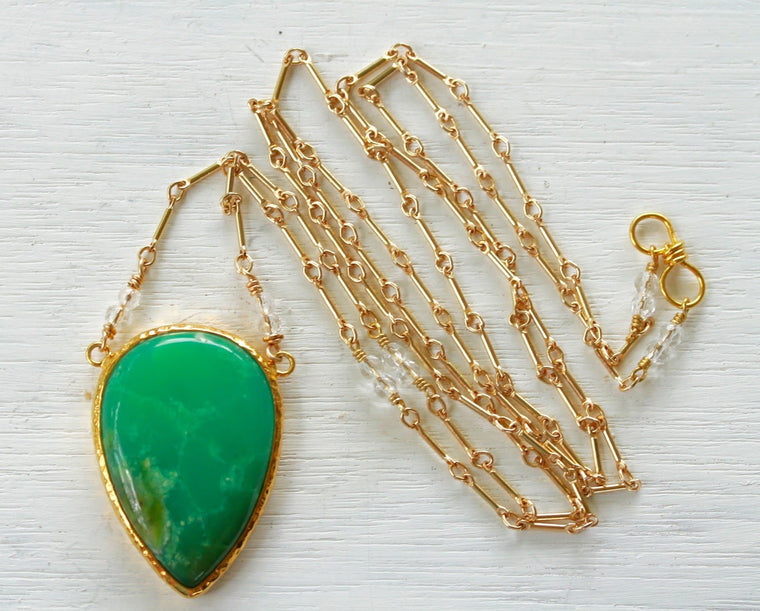 Gold Chrysoprase Necklace