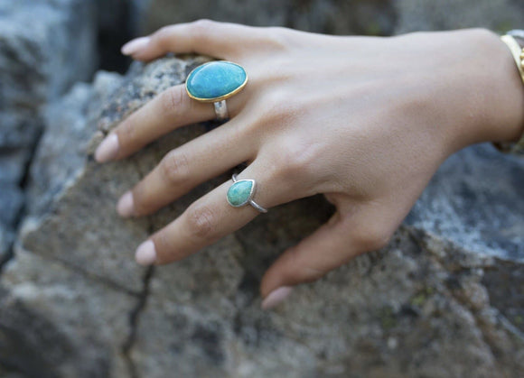 Turquoise Tear Elfin Ring