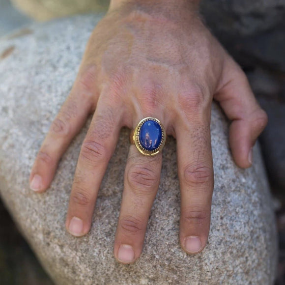 Mens Lapis Earth Ring