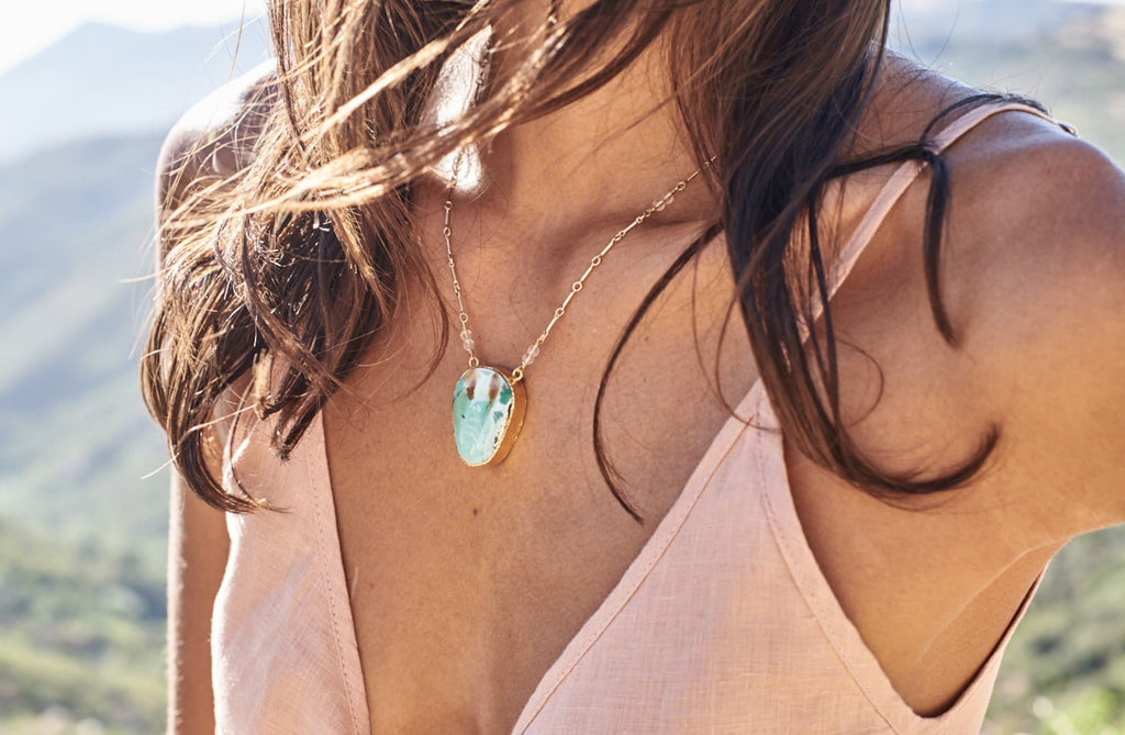 Gold Turquoise NV Necklace