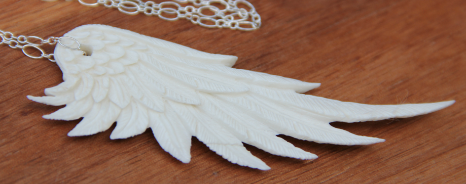 Carved Angel Wing Necklace