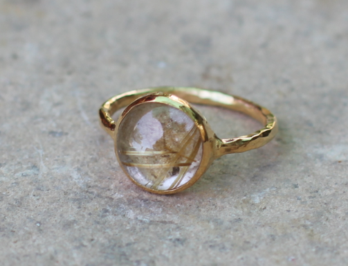 Petit Rutliated Quartz Pinky Ring