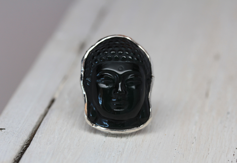 Carved Obsidian Thai Buddha Ring