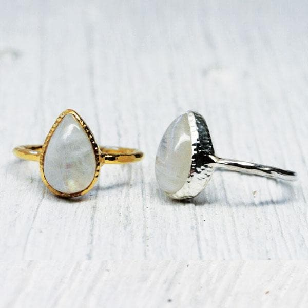 Moonstone Tear Elfin Ring