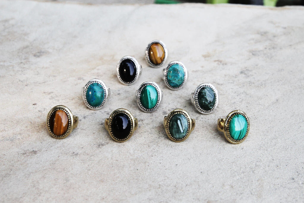 Mens Chrysocolla Earth Ring