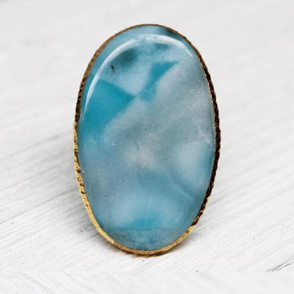 Grand Gold Larimar Ring