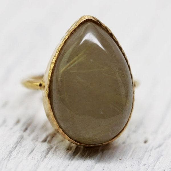 Gold Rutilated Quartz Elfin Ring