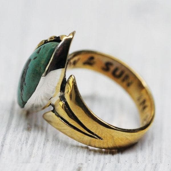 Sun & Moon Ring : Turquoise & Brass