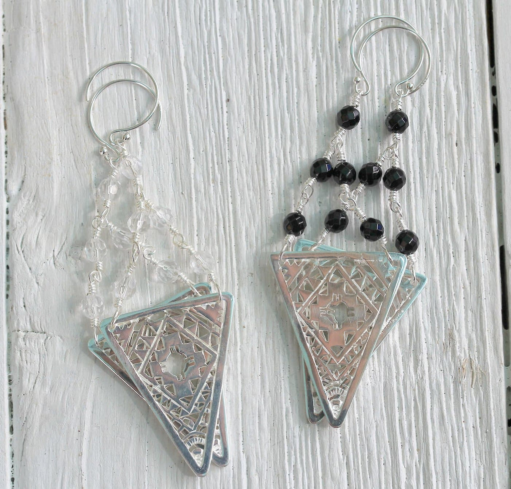 Silver Tribal Earrings || view more colors