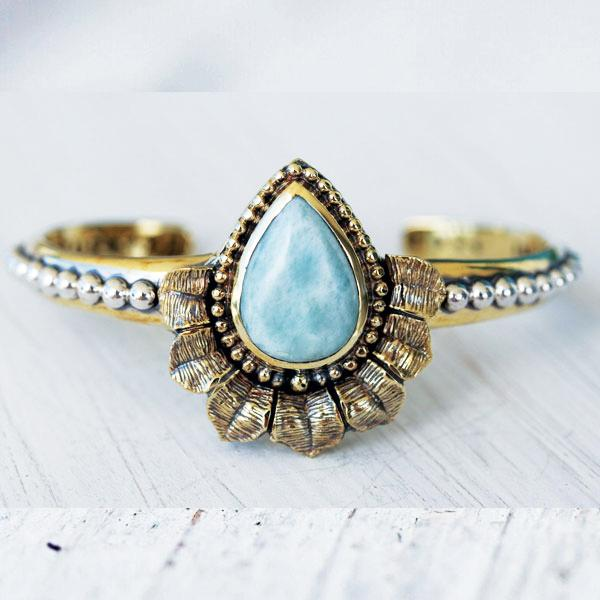 Moonstone Sunbeam &  Larimar Lotus Cuff : Custom Order