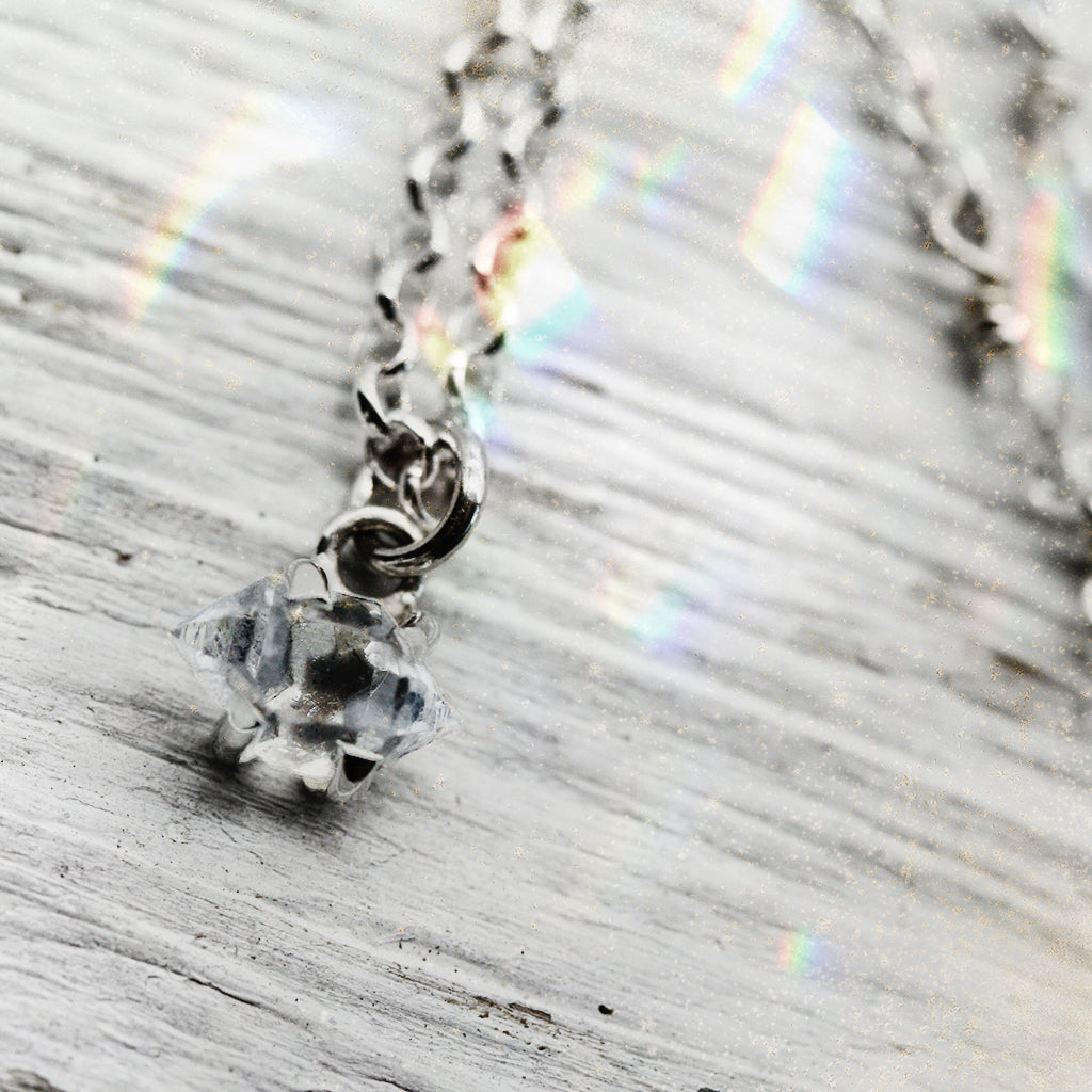 Petit Herkimer Diamond Necklace :: Silver