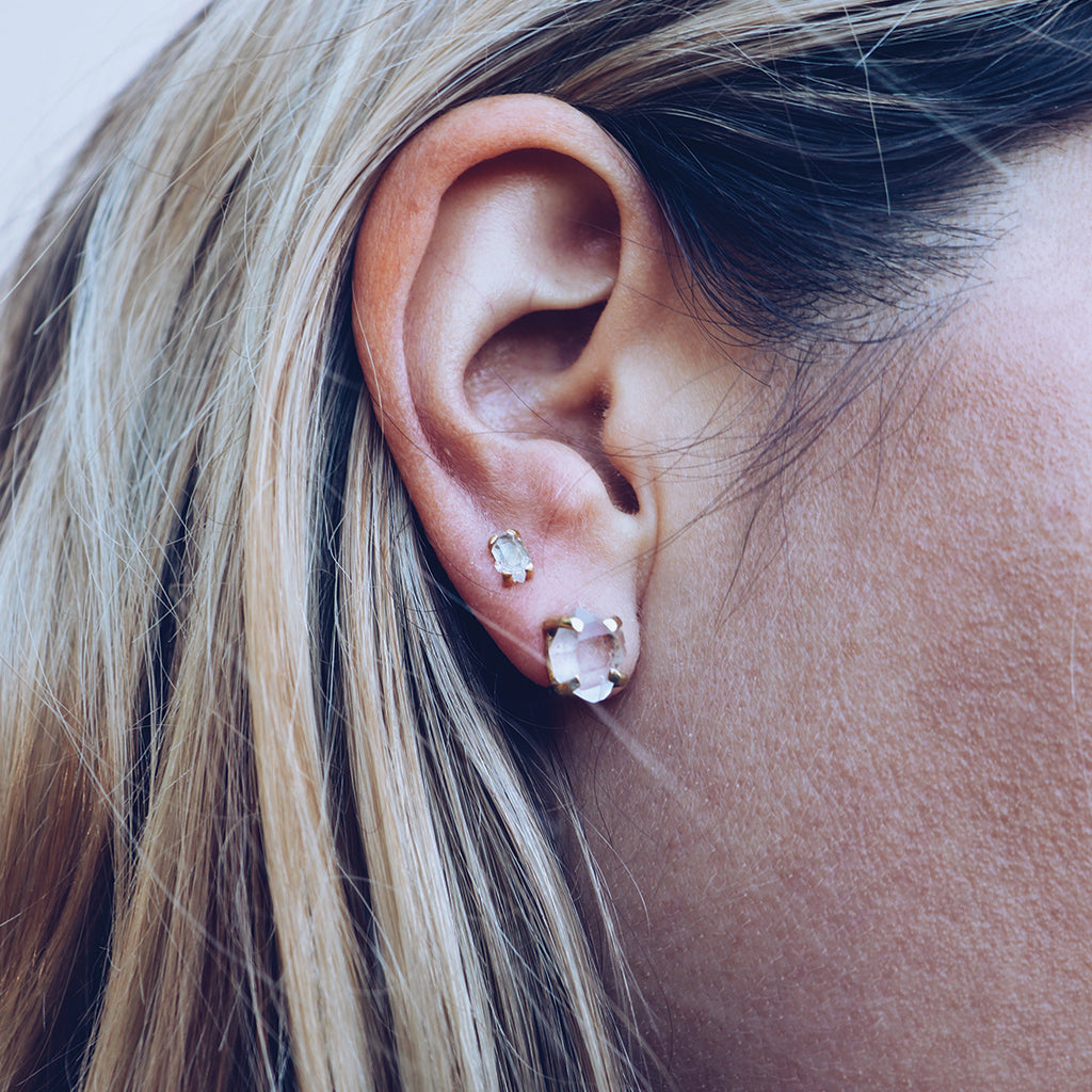 Petit Herkimer Diamond Studs :: Gold