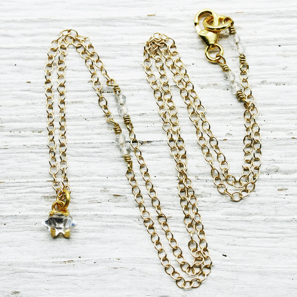Petit Herkimer Diamond Necklace :: Gold