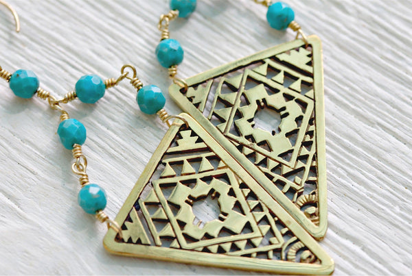 Gold Tribal Earrings || view more colors