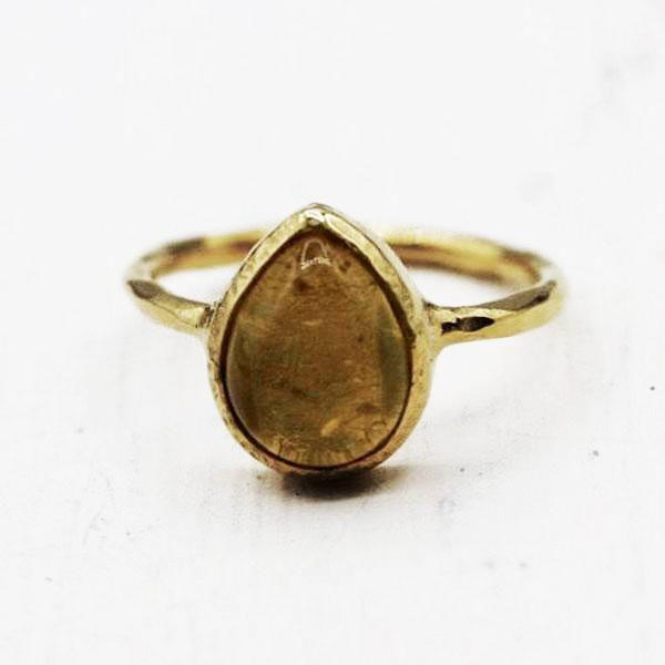 Citrine Drop Ring