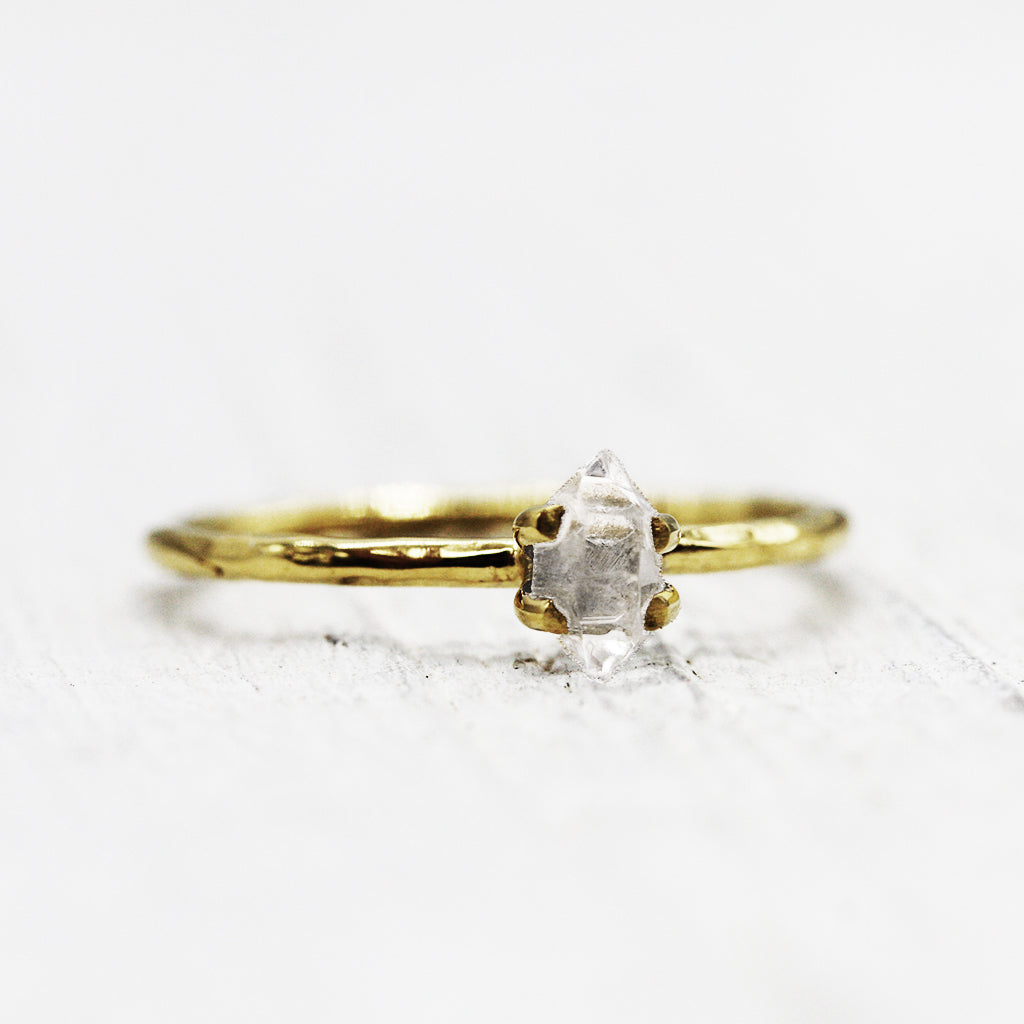 Petit Herkimer Diamond Ring :: Gold