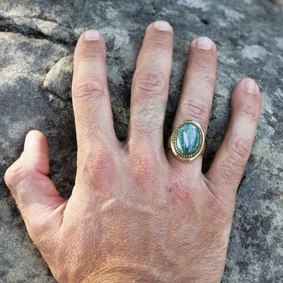 Mens Seraphanite Earth Ring