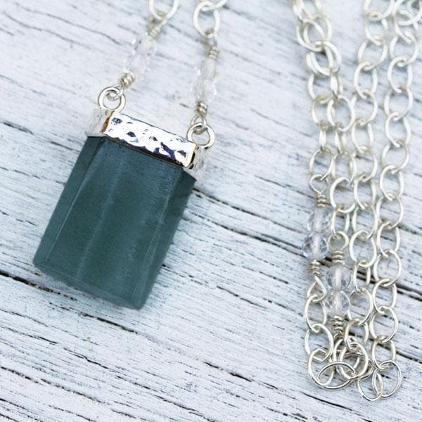 Raw Aquamarine Wand Necklace
