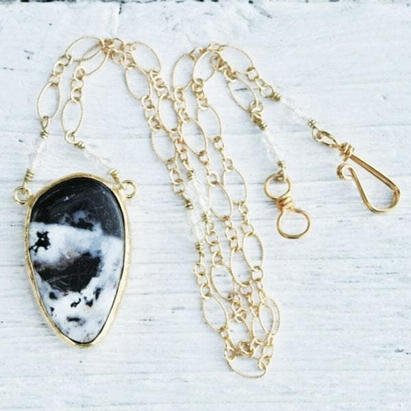 Gold White Buffalo Turquoise Necklace