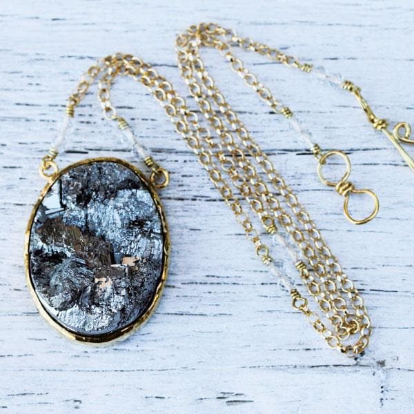 Gold Raw Pyrite Necklace