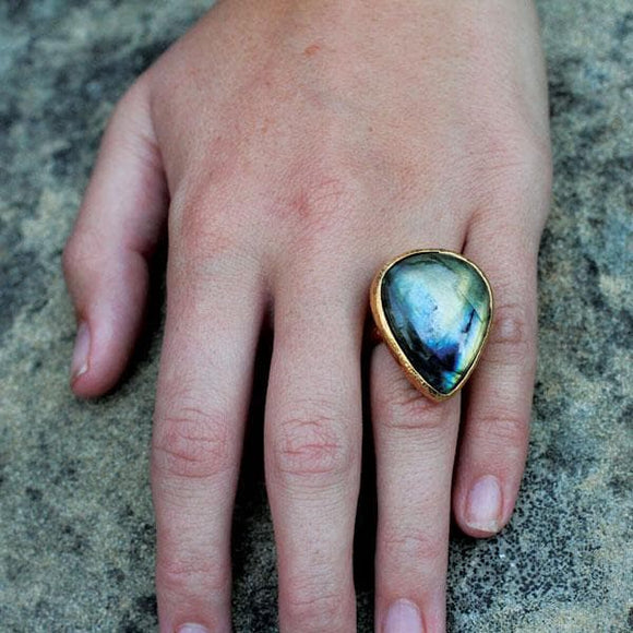 Gold Rainbow Labradorite Ring