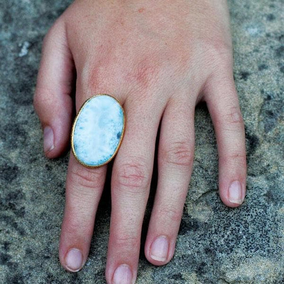 Gold Larimar Ring