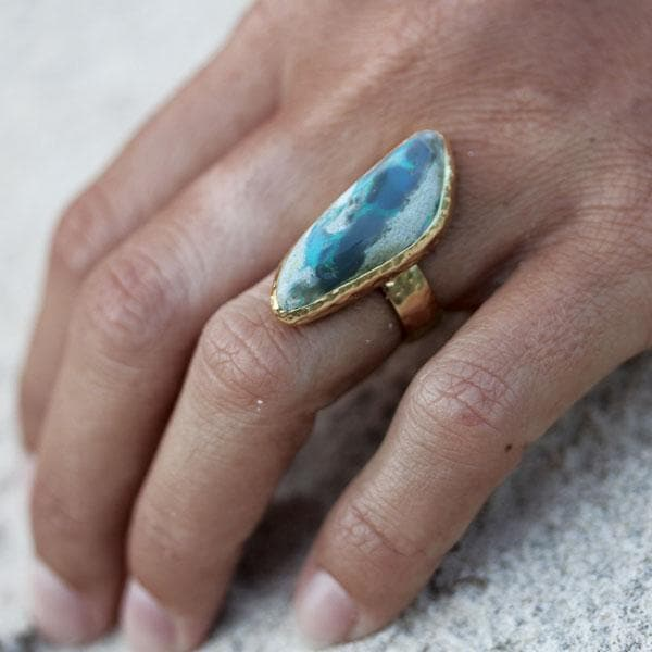 White Cliff Opal Ring