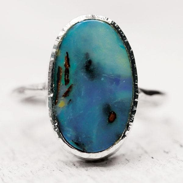 Lightening Ridge Opal Elfin Ring