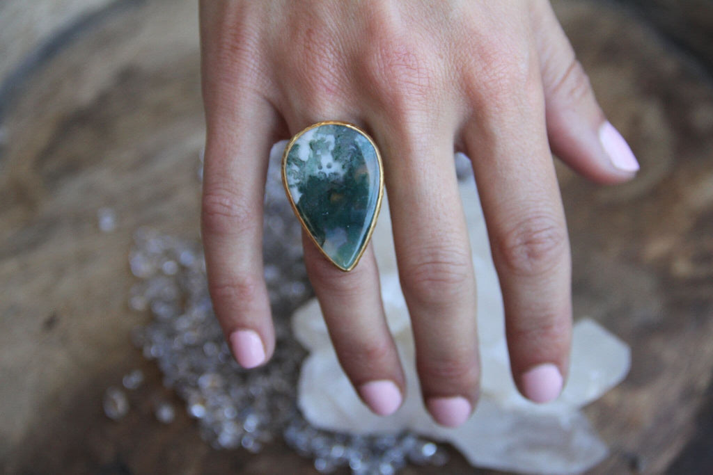 Gold Moss Agate Ring