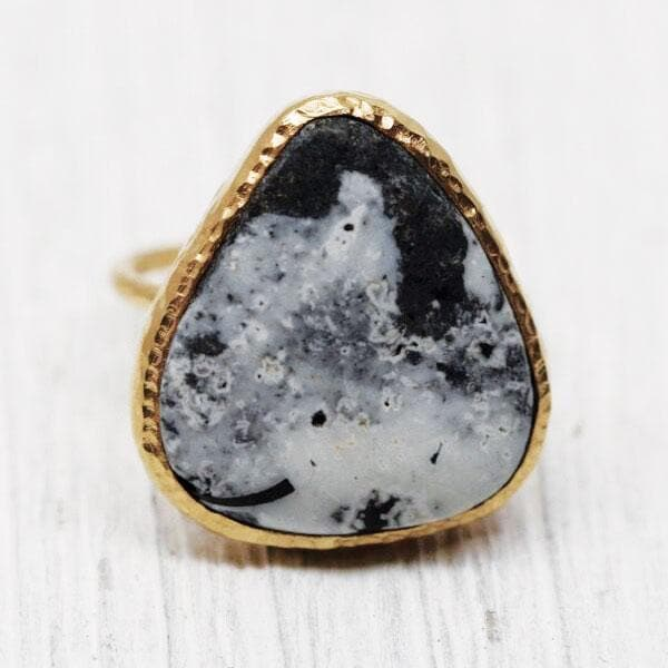 Gold White Buffalo Turquoise Elfin Ring