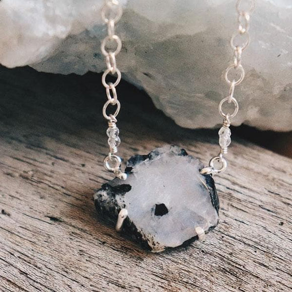 Raw Moonstone Tourmaline Necklace