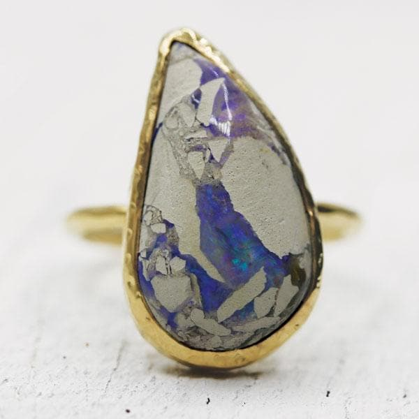 White Cliff Opal Elfin Ring