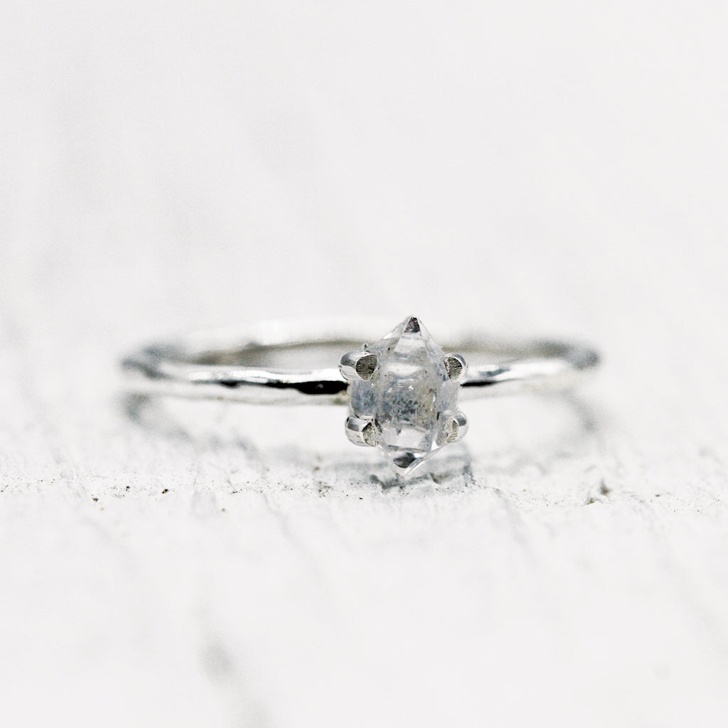 Petit Herkimer Diamond Ring :: Silver