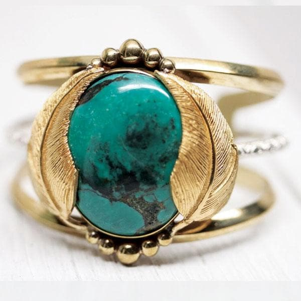 Gold Turquoise Kinship Cuff