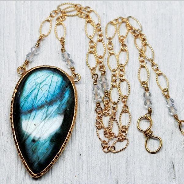 Gold Labradorite Tear Necklace